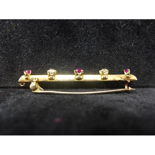 514 - A 19th century, 18ct yellow gold bar brooch alternately set with three faceted rubies and two round ...