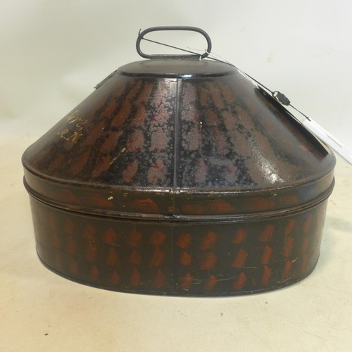 521 - A 19th century toleware hat box by Gieves, painted 'J.W Devonshire', H.24 W.32 D46cm...