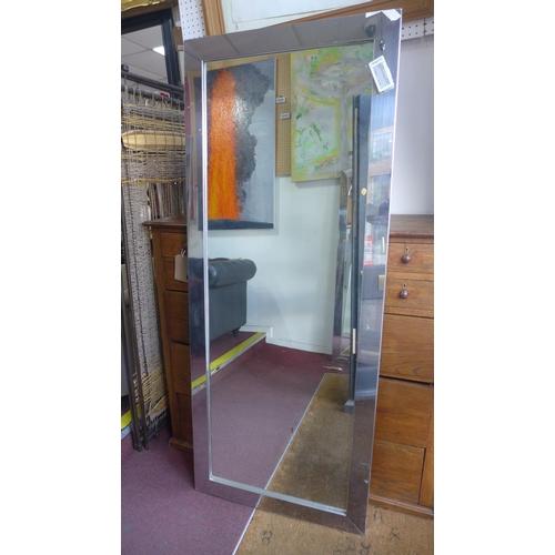 527 - A tall aluminum framed mirror, 175 x 71cm...