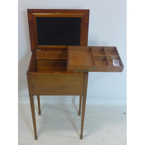 529 - An Edwardian inlaid mahogany sewing table, raised on tapered legs and spade feet, H.73 W.46 D....