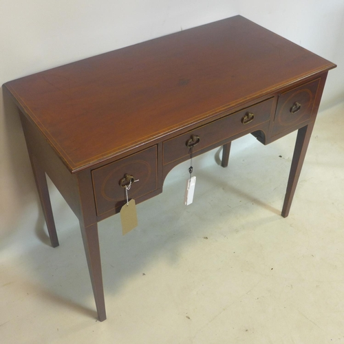 530 - A 19th century inlaid mahogany writing table, with 3 drawers, raised on tapered legs, H.76 W.100 D.5...