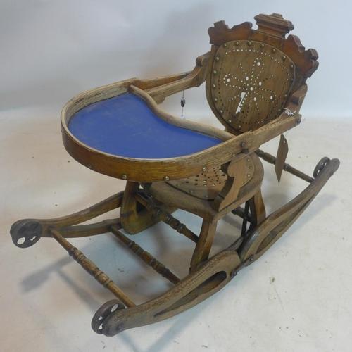 548 - A Victorian oak metamorphic highchair/rocking chair...
