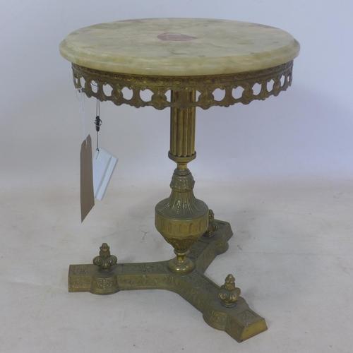 549 - A 20th century Italian gilt metal and onyx lamp table, H.43 D.35cm...