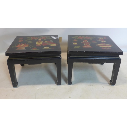 572 - A mid 20th century pair of Chinese black lacquered occasional tables decorated with hand-painted vas...