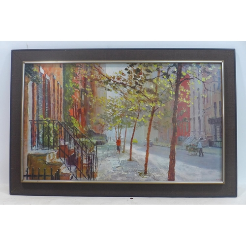581 - After Peter Haywood, a large print of a New York street scene, 60 x 100cm...