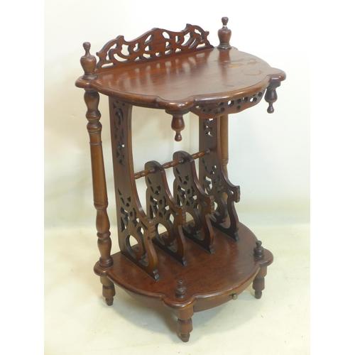588 - A Victorian style mahogany Canterbury, H.90 W.58 D.39cm...