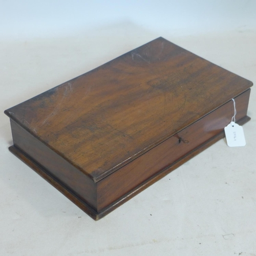 602 - A 19th century mahogany deed box with key, H.10 W.44 D.26cm...