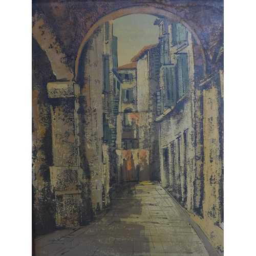 607 - A mid 20th century oil on canvas, depicting continental street scene, 52 x 40cm...