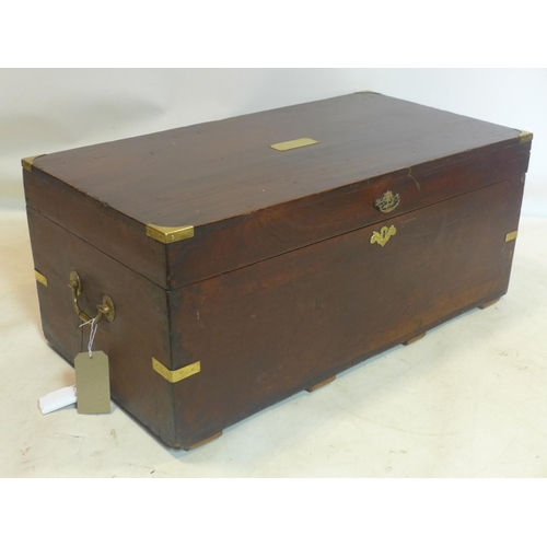 613 - A 20th century Campaign style brass bound camphor wood trunk, H.42 W.97 D.50cm...
