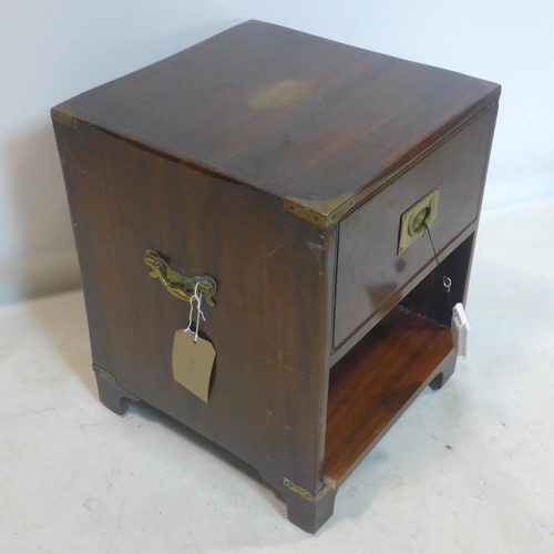 614 - A 20th century Campaign style brass bound mahogany lamp table, with single drawer raised on bracket ...