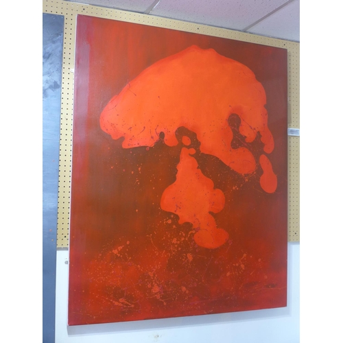 615 - Victoria Cantons (contemporary artist) A large oil on linen of a red abstract form, 152 x 125cm, 200...