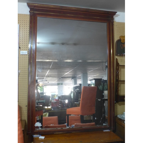 640 - A large Regency style mahogany and brass over mantle mirror, 170 x 127cm...