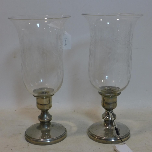 642 - A pair of 20th century storm lanterns with etched glass, H.38 D.18cm...