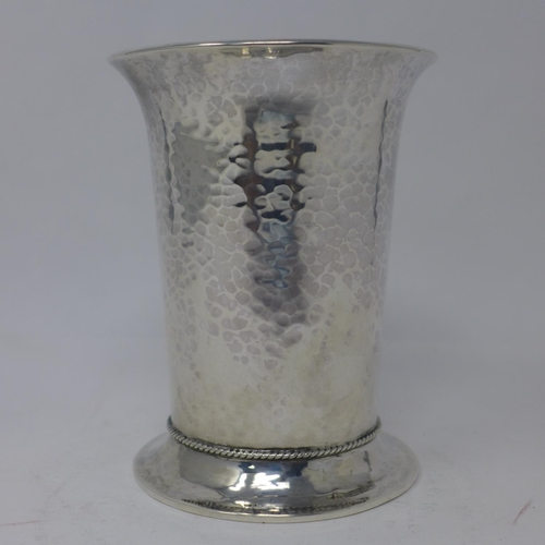649 - An Edwardian planished silver goblet, with rope twist design to spreading base, possibly by A Edward...