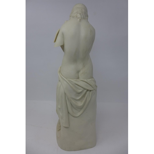 659 - A 19th century Copeland Parian figure of 'Innocence' by J.H. Foley, a semi nude lady holding a dove ...
