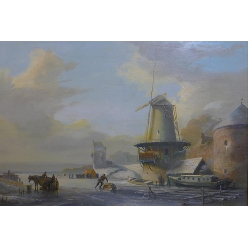 675 - Jan Jacob Spohler (1811-1866/79), Windmill in winter landscape with figures on the ice, oil on panel...