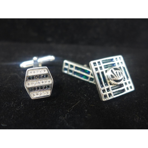 700 - Two pairs of sterling silver cufflinks: one pair enamelled in blue/green in the Mackintosh style, th...