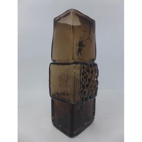 718 - A Whitefriar's, 1960's, 'Drunken Bricklayer' vase designed by Geoffrey Baxter in shade of brown, H: ...