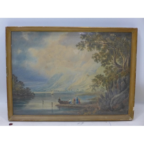 720 - WITHDRAWN- Mid to late 19th century school, Lakescape with mountains to background, watercolour, uns...