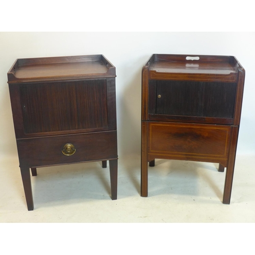 729 - WITHDRAWN - Two Georgian mahogany bedside cupboards with tambour fronts...