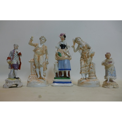 733 - A collection of five 19th century porcelain figurines, to include a Staffordshire example of lady wi...