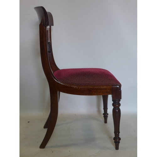 736 - A set of six William IV mahogany dining chairs, with drop-in seats...