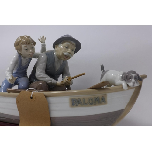754 - A large Lladro group figure, 'Fishing With Gramps' in 'Paloma', modelled by Jose Puche, marked to ba...