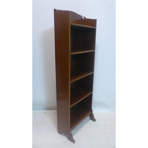 766 - A late 19th century inlaid mahogany narrow open bookcase, H.113 W.41 D.22cm...