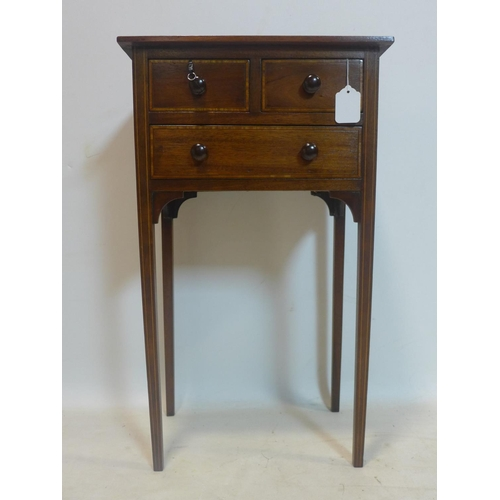768 - An early 19th century inlaid mahogany side table, with 3 drawers, raised on tapered legs, H.70 W.40 ...