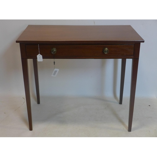 771 - A Regency mahogany side table with single drawer, raised on tapered legs, H.77 W.87 D.47cm...
