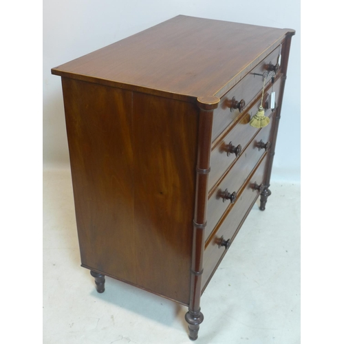 838 - A Regency mahogany chest of 4 drawers, with rosewood cross banding, raised on turned legs, H.93 W.98...