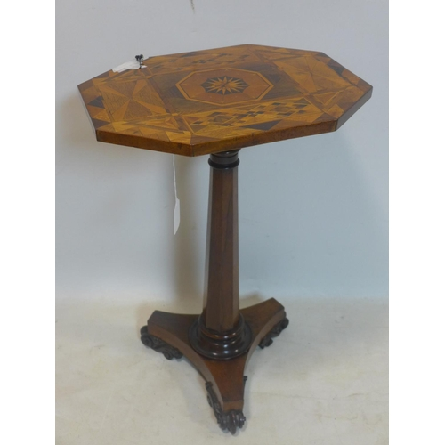 840 - A William IV rosewood wine table with parquetry inlaid top, H.69 W.46 D.36cm...
