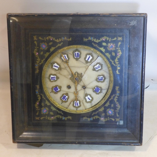 867 - A mid 19th century French Napoleon III wall clock, the alabaster dial (badly broken) with Roman nume...