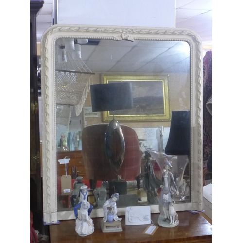 868 - An early 20th century French cream painted over mantle mirror, 117 x 100cm...