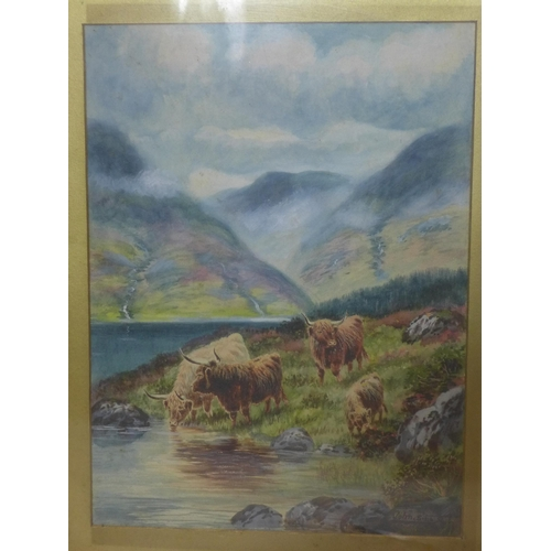 885 - John Shirely Fox (1860-1939), two watercolour on paper studies depicting Highland cattle drinking fr...