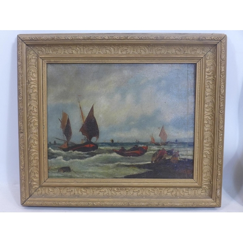 886 - Late 19th century school, Boats on a choppy sea, oil on canvas, unsigned, in giltwood frame, 27 x 34...