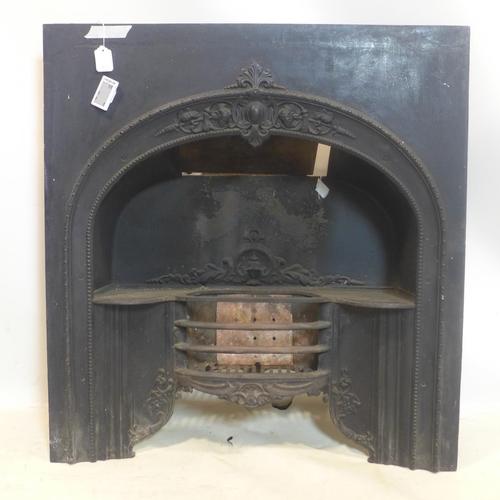 508 - A Victorian cast metal fireplace...