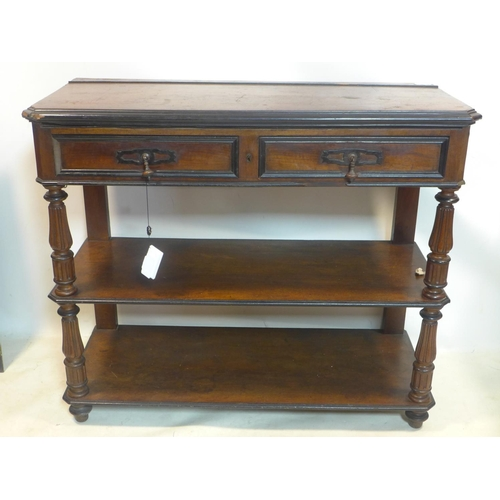 532 - A Victorian mahogany and part ebonized 3 tier buffet, with hinged top above 2 drawers, H.97 W.114 D....