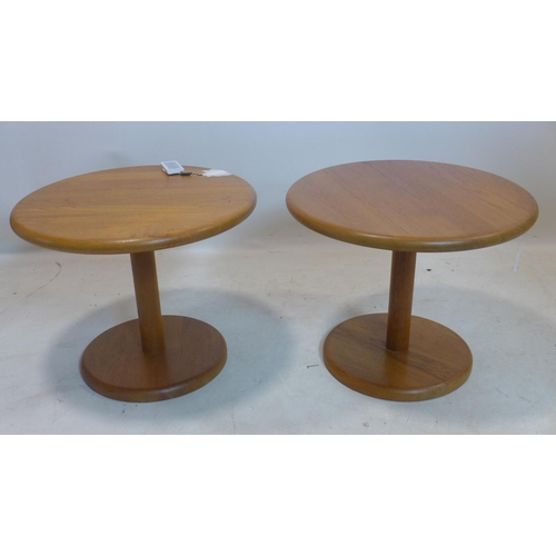 537 - A pair of 20th century teak lamp tables, H.44 D.54cm...