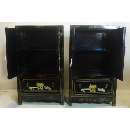 546 - A pair of 20th century Chinese black lacquered cabinets, with hard stone decoration, H.113 W.66 D.38...