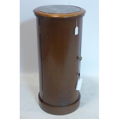 76 - A Victorian mahogany cylindrical cabinet, with marble top, H.79 D.37cm...