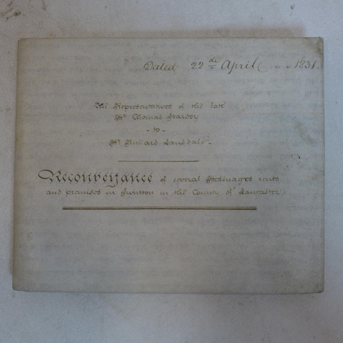 249 - A William IV Indenture dated 1831, including three documents, having signatures and seal marks, unfr...