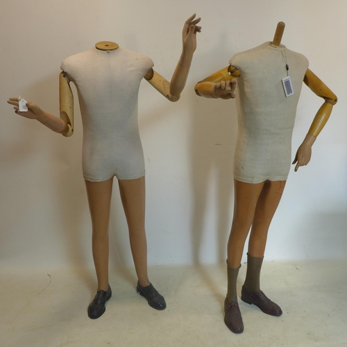 273 - A pair of 1950's shop display mannequins with plaster and wood arms and legs, both fitted with shoes...