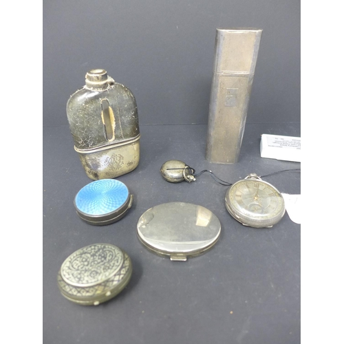 395 - A collection of silver to include a spectacles case, sovereign case, hip flask, pocket watch, 2 comp...