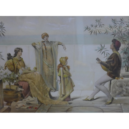 420 - Maude Goodman (British, 1853-1938), RCA, A framed and glazed watercolour of classical maidens and fi...