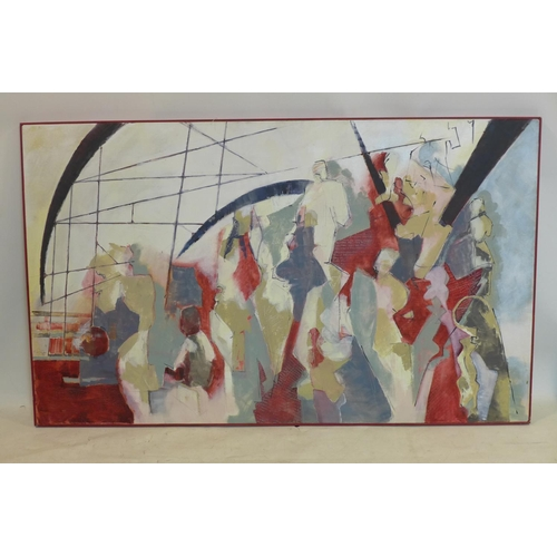 421 - A framed large oil on canvas of abstracted figures in shades of blues, reds and creams, unsigned, 92...