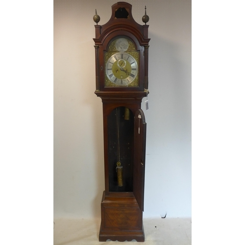 262 - A 19th century mahogany grandfather clock, the movement signed John Andrews Leaden hall street Londo...