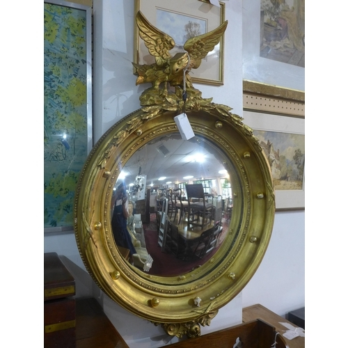 223 - A Regency gilt wood convex mirror with carved eagle crest, H.100 W.61cm...
