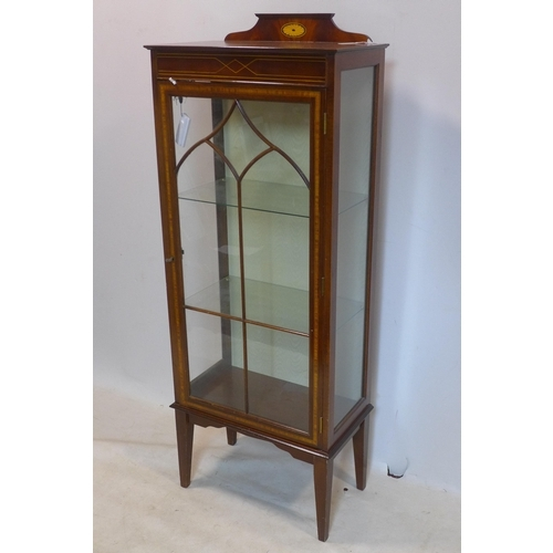 263 - An Edwardian inlaid mahogany display cabinet, with adjustable shelves, raised on tapered legs, H.156...