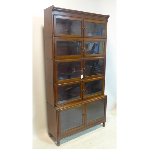 266 - An early 20th century mahogany 5 section bookcase by Minty, H.175 W.89 D.30cm...